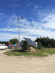 Solar & wind hybrid installation at a Ravenna, Nebraska public school, funded by a private grant. Photo: Pika Energy