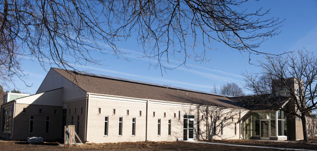 Fifty-eight solar panels line the roof of the Unitarian Church of Lincoln. The panels were part of a $2.5 million renovation project, which included geothermal heating and cooling, as well as room for 42 more solar panels in the future. Photo: Lincoln Journal Star