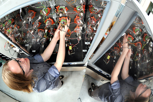 Lynn Trahey tests batteries at the Argonne National Laboratory in Illinois. Photo: Argonne National Laboratory