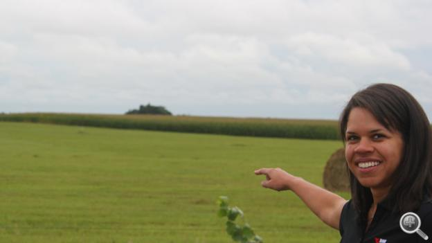 Project Manager Alicia Knapp points to where one of 200 wind turbines will be located. Photo by Fred Knapp, NET News