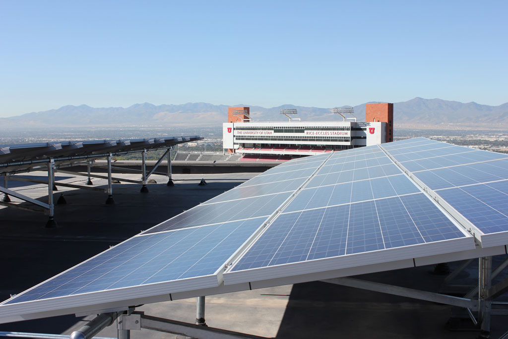 Two of the solar arrays on the west penthouse of the J. Willard Marriott Library, University of Utah. Universities across Utah are leaders in student-led sustainability programs and practices. Photo Credit: J. Willard Marriott Library