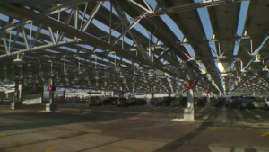 Solar panels atop parking ramps at MSP Airport. Photo: WDAY