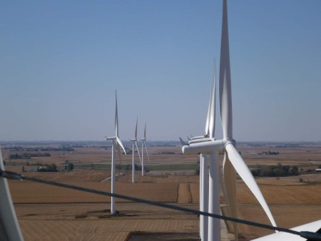 A view of MidAmerican Energy's Vienna wind project in Tama and Marshall counties from atop the nacelle of one of the wind turbines. MidAmerican Energy photo.