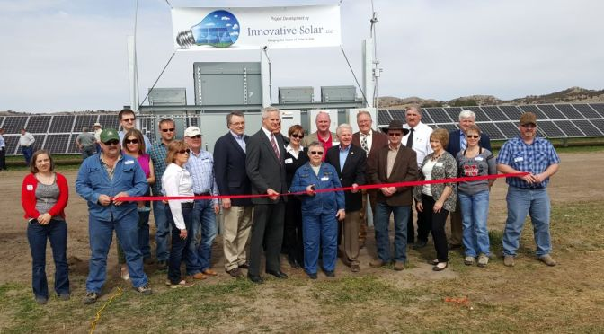 Ribbon cutting was held on Monday March 14, 2016 for the installation of the largest solar array in Nebraska on the Pandorf Land & Cattle Co. ranch northwest of Callaway. Photo: Rural Radio Network
