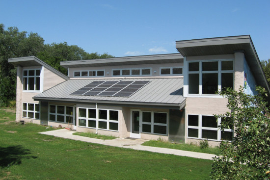 """Earth House"" at Prairie Hill Montessori School in Roca, Nebraska, one of two ""hybrid schools"" (wind and solar). Nebraska has no other K-12 solar schools."