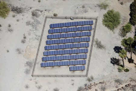 Solar panels are seen in the Palm Springs area